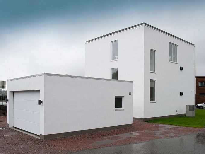 Passivhus i mur - minimalisme - funkishus - murhus - pusset fasade - Leca