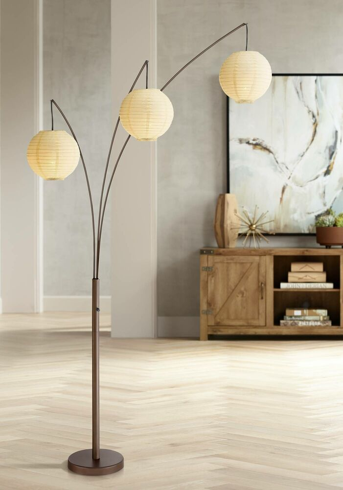 Asian Arc Floor Lamp Adjustable Bronze Paper Shades For Living Room Reading Affilink Lamps Lampshad Lantern Floor Lamp Arc Floor Lamps Adjustable Floor Lamp