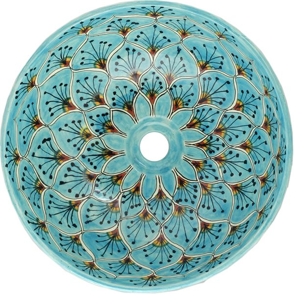 Mexican Tile - Turquoise Peacock Round Vessel Above-the-Counter Bathroom Mexican Talavera Lavatory Sink
