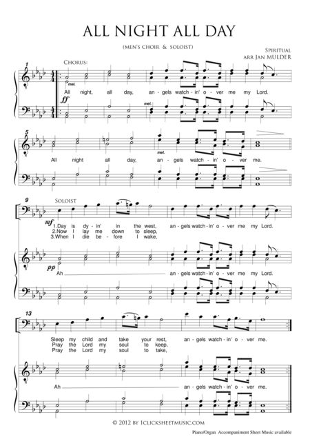 """Download """"All Night, All Day"""" Sheet Music By Traditional - Sheet Music Plus"""