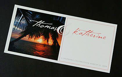 An image of a romantic tropical sunset is a feature of this wedding invitation design. www.kardella.com