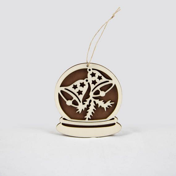 Wooden snow globe Christmas ornament with Christmas bells