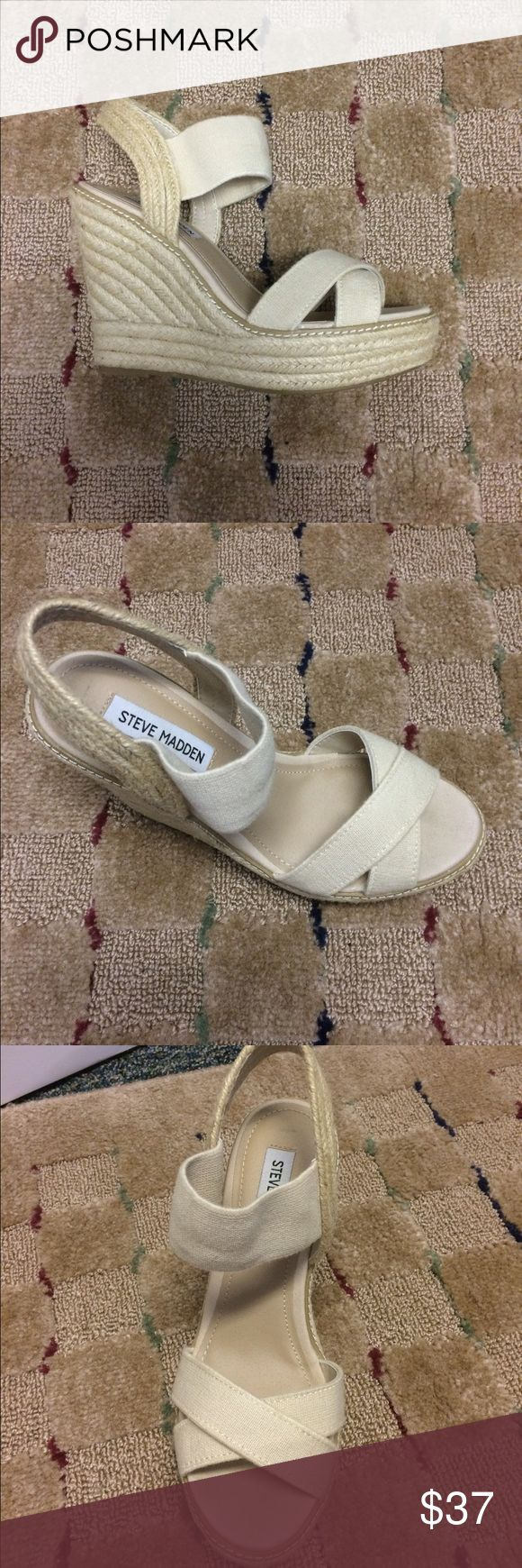 Steve Madden Cream Nude Espadrille Wedges Beautiful wedges in like new condition! Only worn once. The style is Steve Madden's Eira in the color Natural which is a nude, beige, cream color. Open to ️️! Steve Madden Shoes Wedges