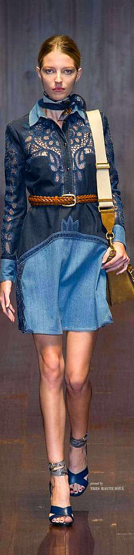 We see very tailored denim this past runway. #MFW Gucci Spring Summer 2015 RTW