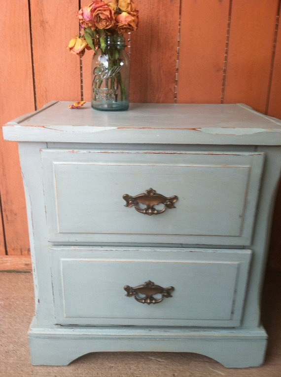 Distressed Upcycled Blue 2 Drawer Bedside Table Nightstand