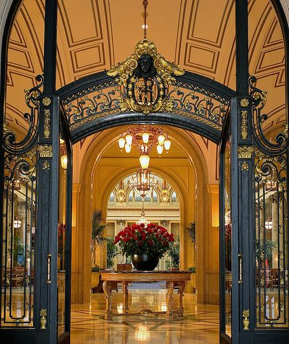 Lobby of the Palace Hotel, San Francisco. The architecture of this hotel is truly amazing which is why I'm pinning it - the elegant old world type of charm everywhere in countries across the ocean from the USA is captivating to Americans as we recognize the centuries old beauty in the architecture. We LOVE it! The Palace Hotel is a lovely adaptation of times/places in existence long before we entered the global scene.