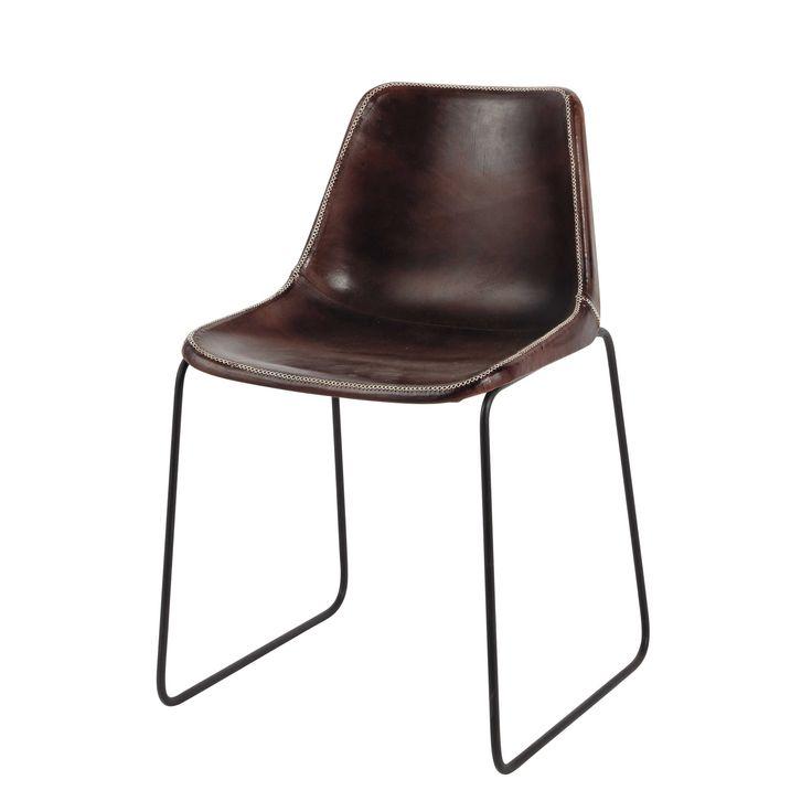 Stuhl im Industry-Stil aus Leder und Metall, 149,00€