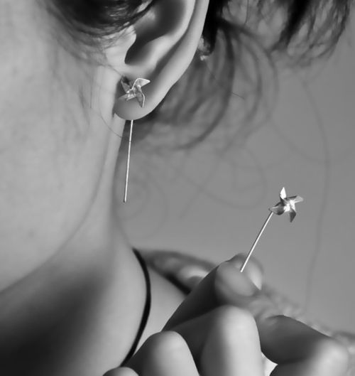 pinwheel earrings.Fashion, Style, Clothing, Pinwheels Earrings, Tiny Pinwheels, Piercing, Jewelry, Things, Accessories