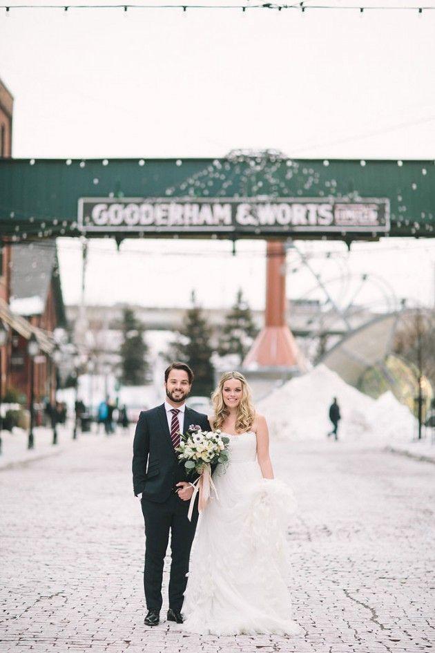 winter wonderland wedding south africa%0A Distillery District Wedding Bride and Groom