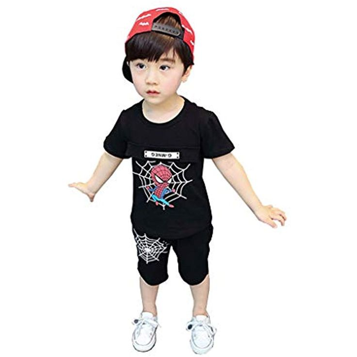 Spiderman Summer Kinder T-Shirt Sets Avengers Junge Cartoon Drucken Baumwolle Zw…