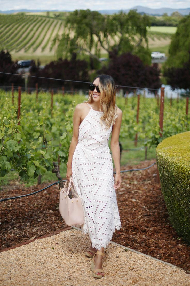 Beyond Basic Blog What to Wear Wine Tasting Line Dot Geo Lace Dress Domaine Carneros Napa
