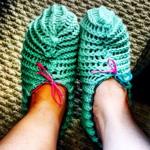 My first ever knit product! Slippers! Granted, they may not look perfect, but I'm proud.