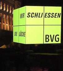 In 2010 BVG (Berlin Transport) were expanding its subway line and took the opportunity to exhibit its development  at Berlin's Festival of Lights, where iconic buildings are beautifully lit.   BVG wanted to create attention and interest in what was happening during the Festival. Working for Familie Redlich (BVG's communication agency), we projected video content onto a 3D cube. The video contained interesting and unusual information about the subway. The results were impressive!