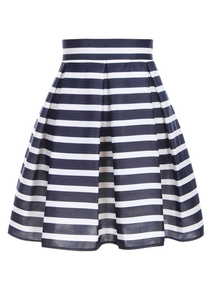 High Waist Pleated Skirt in Stripe | Choies