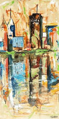 "Where ART Lives Gallery Artists Group Blog: ""Downtown V"" - Contemporary Cityscape by Arizona Artist, Sharon Sieben"