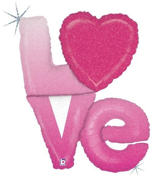 Balão metalizado Love amor com letras e coração Pink Holográfico 35217-02 - Estilo e festas - Acessórios para Festas   Artigos para festas