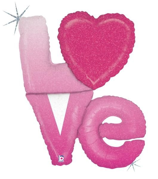 Balão metalizado Love amor com letras e coração Pink Holográfico 35217-02 - Estilo e festas - Acessórios para Festas | Artigos para festas