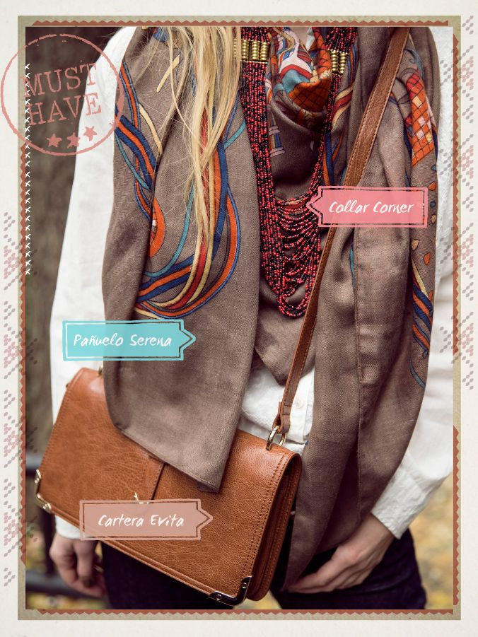 Pañuelo Serena / Collar Corner / Cartera Evita #musthave #indiastyle