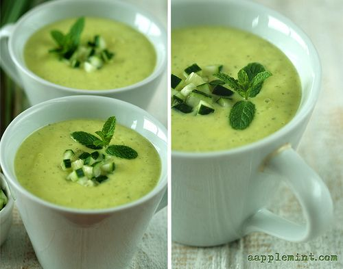Chilled Avocado Soup with Mint, Cucumber and Lemongrass