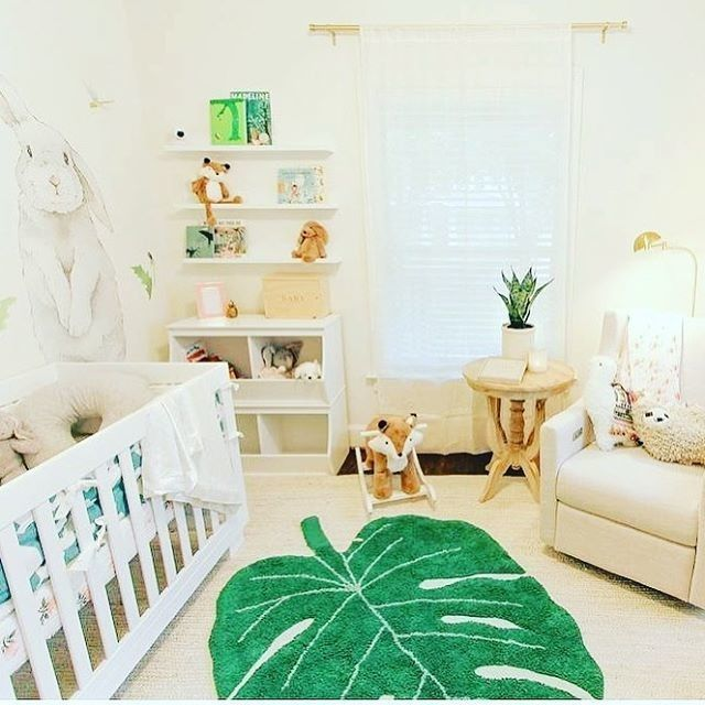 Tropical Leaf Nursery With Bunny Mural And Leaf Area Rug And Safari Accents Nurserydecor Nurseryide Baby Nursery Decor Tropical Nursery Tropical Baby Nursery