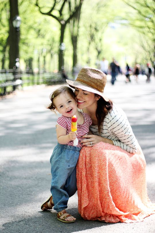 spring in central park.  mama and daughter.  so sweet.