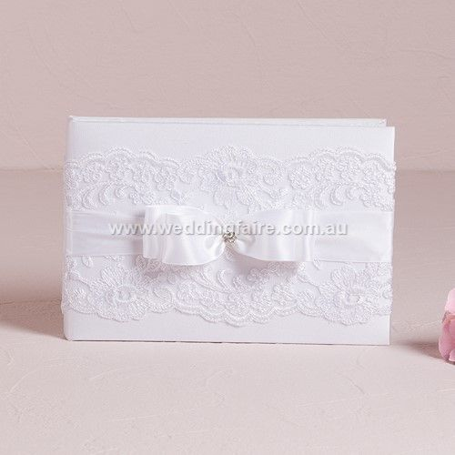 Beverly Clark French Lace Collection Guest Book - White - The Wedding Faire