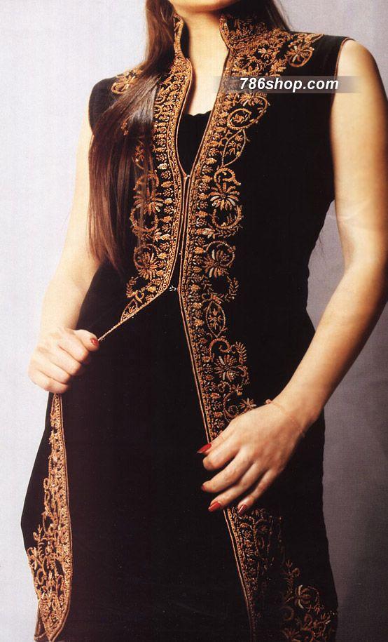 Black Crinkle Chiffon Suit | 786Shop.com | Pakistani Indian Dresses.