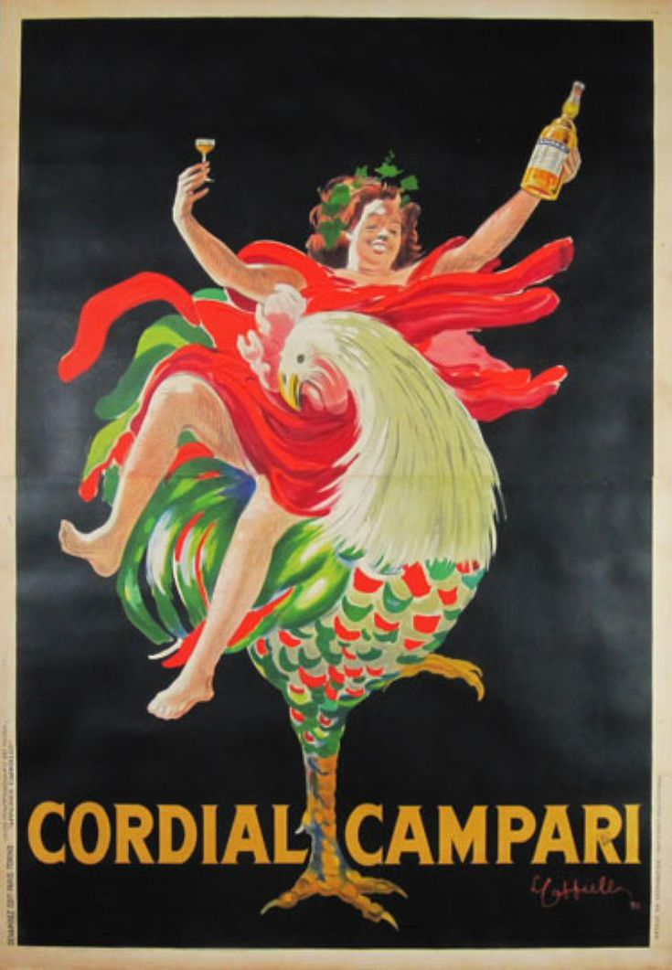 Cordial Campari original vintage poster by famous artist Leonetto Cappiello from 1921 Italy. Shows a woman sitting  on a rooster holding up a glass in one hand and bottle of liqueur in the other.