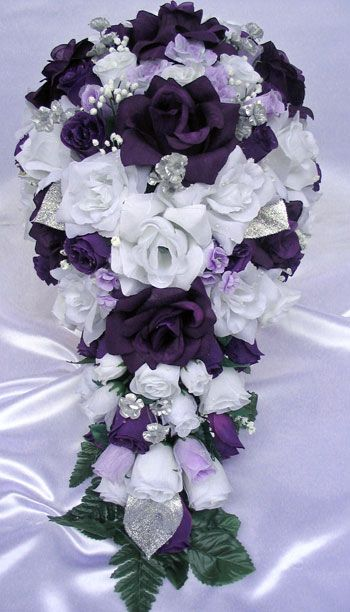purple and silver bouquets for weddings | 21pcs Bridal Bouquet Wedding Flowers Purple Silver | eBay