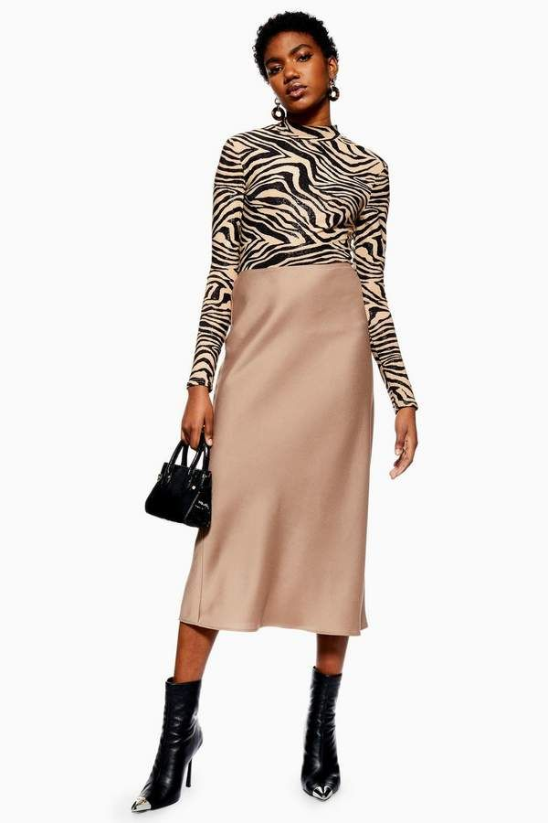 7c489266e9 Satin Bias Midi Skirt in 2019 | Products | Beige skirt outfit, Midi skirt,  Fashion