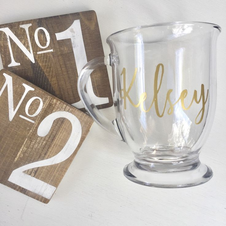 Clear Glass Mug, Clear Glass Coffee Cup, Personalized Coffee Mug, Personalized Coffee Cup, Gift Under 20, Hostess Gift, Teacher Gift by DeerwoodParkLane on Etsy https://www.etsy.com/listing/509364715/clear-glass-mug-clear-glass-coffee-cup