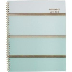 At-A-Glance Ombre Academic Wkly/Mthly PlannerWirebound planner features mint stripes that go from light at the top to dark at the bottom to create a stylish, ombre effect. 12-month date range helps you plan for a full academic calendar year from July to June with count of days/days remaining.   AAG1026905A | formydesk.com