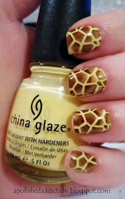 Giraffe Nails:  Base of China Glaze Lemon Fizz stamped with Revlon Hot for Chocolate and Bundle Monster BM-215.