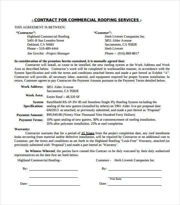 roofing-contract-template-594 | Useful Templates