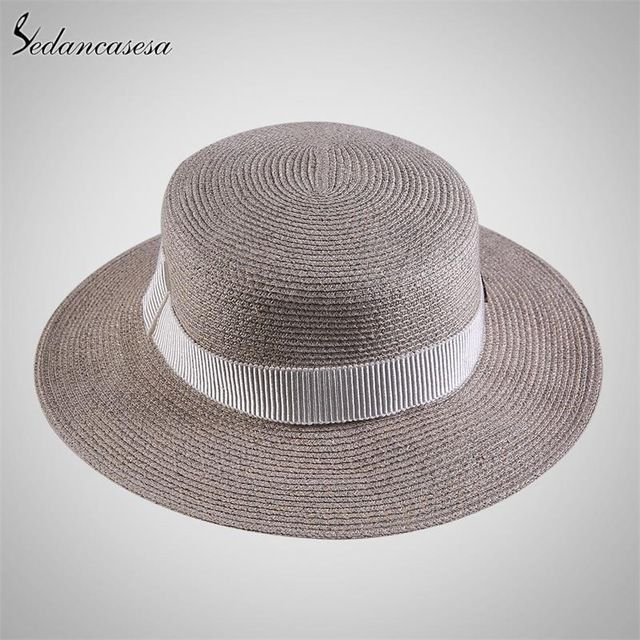 1ff6cf3e Women's Sun Hat simple female wide brim sun protect UV Sun Hat summer  boater Straw Hats