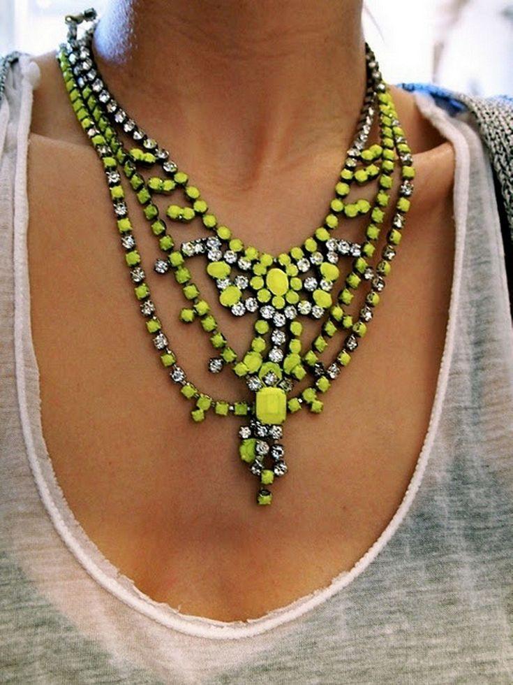 neon statement necklaceRhinestones, Fashion, Neon Necklaces, Statement Necklaces, Style, Colors, Jewelry, Accessories, Neon Yellow