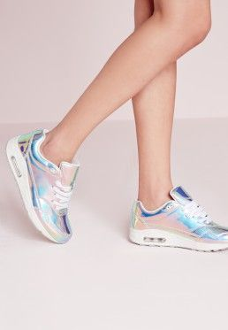 Holographic Bubble Detail Trainers Silver