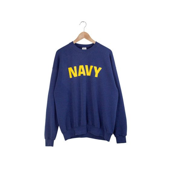 Vintage US Navy sweatshirt. Clean minimal yellow print. Cotton/poly blend. Made in USA.  Label: MJ Soffe  Size: Tagged Mens XL (see measurements for exact fit)  Condition: couple of tiny holes and stains, good overall  *measured flat* length (back collar to bottom) - 26 chest (armpit to armpit) - 24.5 shoulder to shoulder - 24 sleeve - 23  Want to see more? View the FULL shop here: https://www.etsy.com/shop/FormerWorthy  Please note that these items are not new. If you have any questions…