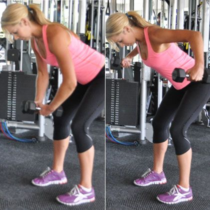 Grab a pair of 5- to 10-pound dumbbells and stand with feet hip-width apart, knees slightly bent. Shift hips back as you lower torso until nearly parallel with the ground.  Turn palms to face each other, bend elbows, and lift weights up to shoulder height. Focus on using your back, not your arms, to raise the weights. Gently lower back down, keeping core and glutes engaged during the entire movement. Do 10 reps.