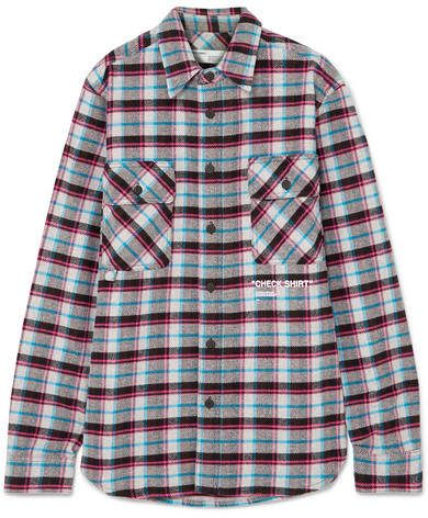 b1fea53e9 Off-White Oversized Printed Checked Cotton-blend Flannel Shirt - Purple