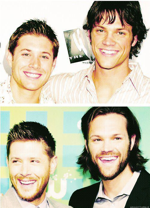 Jensen Ackles and Jared Padalecki...and they both have facial hair now. I'm dying.