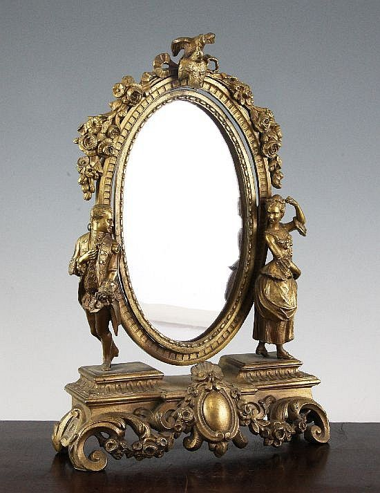 U003cbu003eA Late 19th Century French Oval Ormolu Dressing Table Mirror, Shaving  Stand