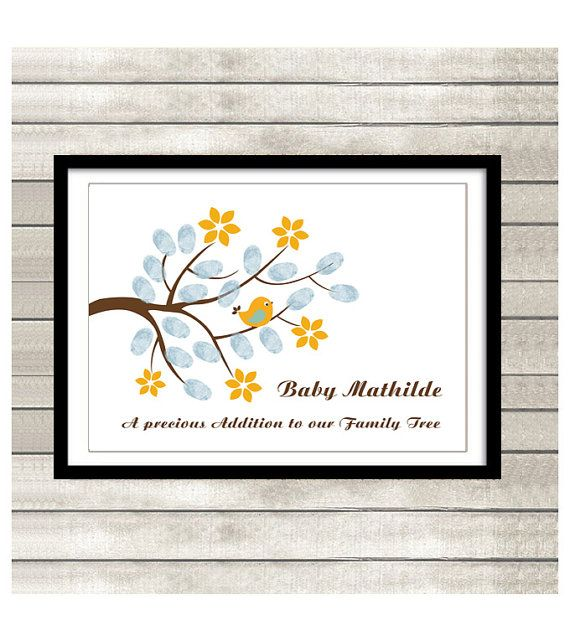 Fingerprint tree PRINTABLE Thumbprint Tree Guest Book Poster, Nursery Wall Art,  blue Custom Text, Color and Language available