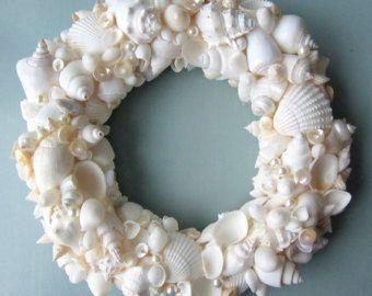 Beach Decor WHITE Seashell Wreath - White Shell Wreath - Elegant All White, 12inch