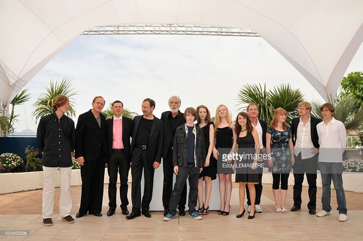 Michael Haneke, Christian Friedel, Rainer Bock, Michael Kranz, Maria Victoria Dragus, Leonie Benesch, Roxanne Duran, Ulrich Tukur, Burghart Klaussner, Leonard Proxauf, and Janina Fautz at the photo call of 'Das Weisse Band' during the 62nd Cannes Film Festival.