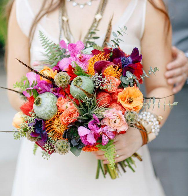 Bouquet   Colorful Bohemian Wedding Inspiration   Green Wedding Shoes Wedding Blog