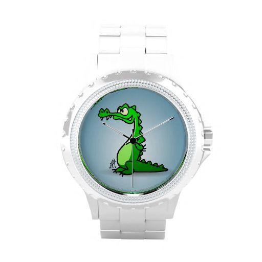 Crocodile Wristwatch #Zazzle #Cardvibes #Tekenaartje #Alligator #Watch