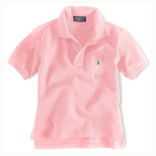 Enfants coton à manches courtes Polo en rose