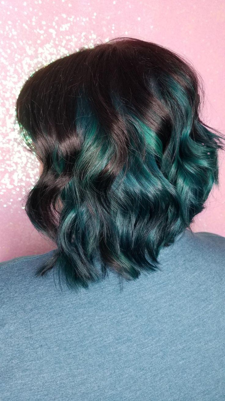 This dark teal hair thou... #hair #beauty #Skin #Deals #me #fashion #love #cute #style #women # ...