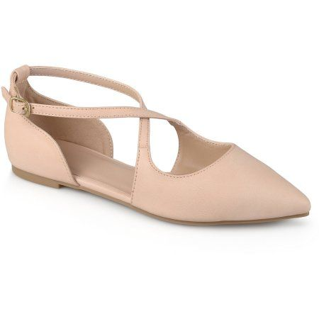 Brinley Co. Womens Crossover Pointed Toe Ankle Strap Flats, Pink